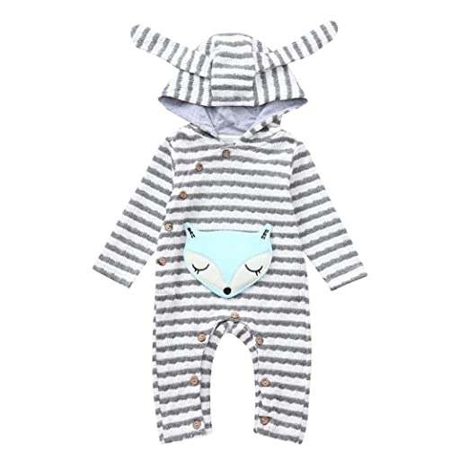 8ee9b46a6fb5 Amazon.com  Franterd Baby Boys Girls Fox Romper Toddler Cartoon Fox ...