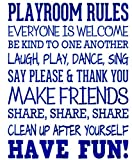 Wall Decor Stickers for Living Room Playroom Rules Everyone is Welcome Be Kind to One Another Laugh Play Dance Sing for Nursery Kids Room Playroom