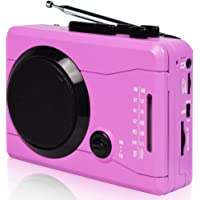 DIGITNOW Cassette Tape To MP3 Converter Via USB& Audio to Cassette Recorder,Personal Cassette mp3 Converter,Cassette Player&Voice Recorder-Wireless AM/FM Radio with Stero Speaker in Earphone(Pink)