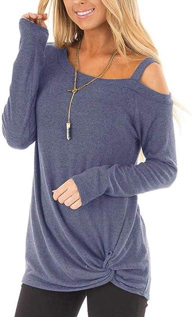 Lover-Beauty Camiseta Basica Mujer Casual Sudadera Manga Larga Primavera Cuello Redondo Bosillo Blusa Fiesta Mujer Carnaval Camisa Oficina Suelto Verano: Amazon.es: Ropa y accesorios