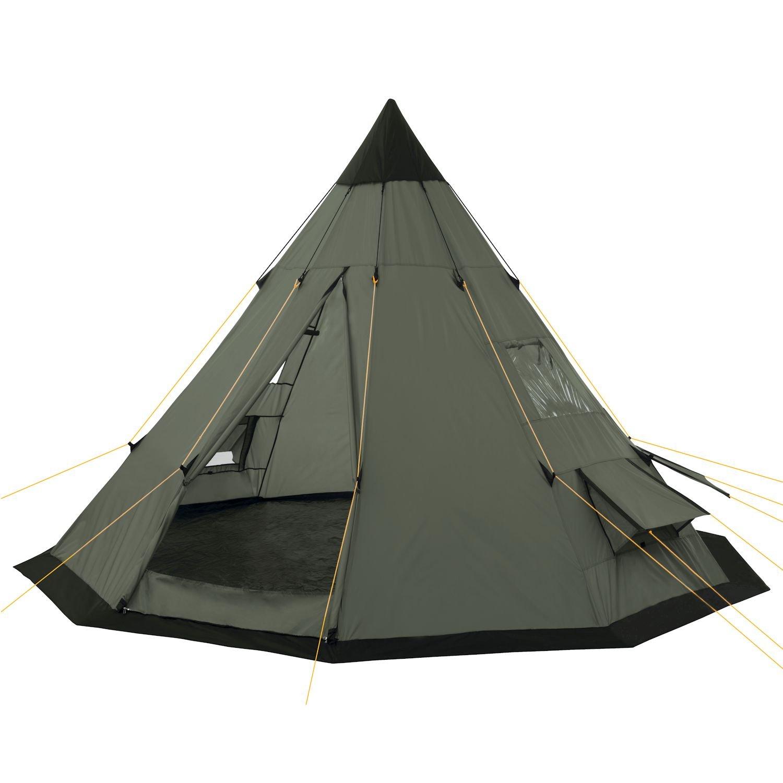 CampFeuer - Tipi Zelt (Teepee), 365 x 365 x 250 cm, olivgrün, Indianerzelt, Camping Pyramidenzelt