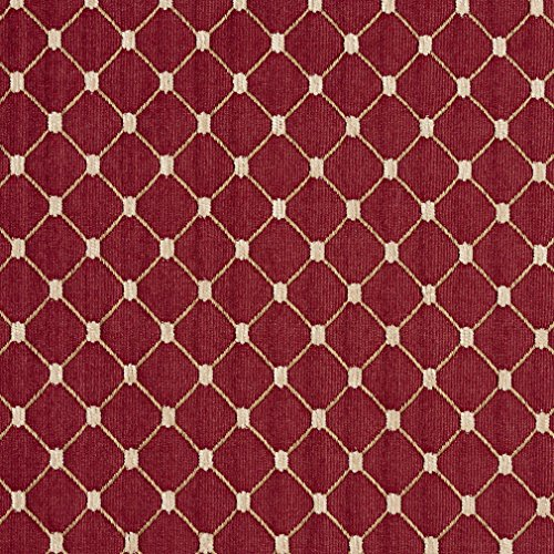 B652 Red Diamond Jacquard Woven Upholstery Fabric by The Yard