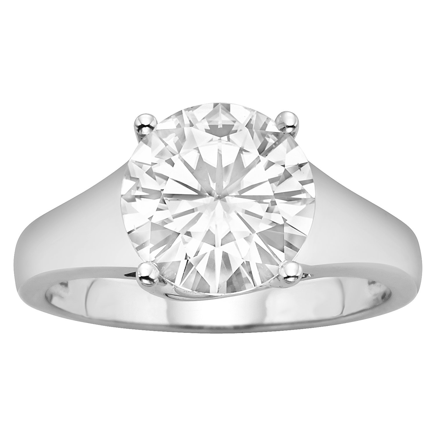 Forever Brilliant 9.5mm Moissanite Solitaire Engagement Ring - size 8, 3.10ct DEW By Charles & Colvard