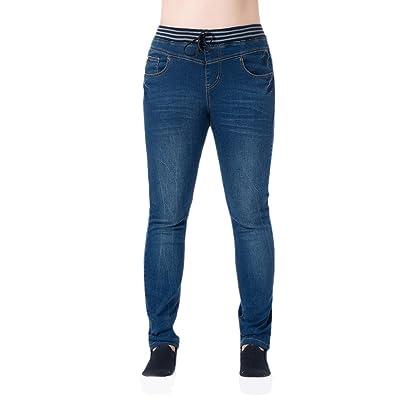 Zhuhaitf Casual Womens Comfortable Elastic Waist Cowboy Jeans Les ventes chaudes Embroidered Adjustable Trousers Pants Plus
