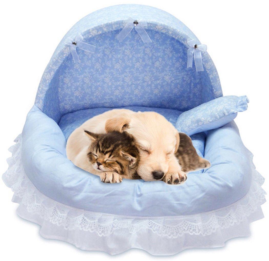bluee M Legendog Pet Bed Decorative Lace Bow Detachable Washable Dog Sleeping Bed Pet Nest