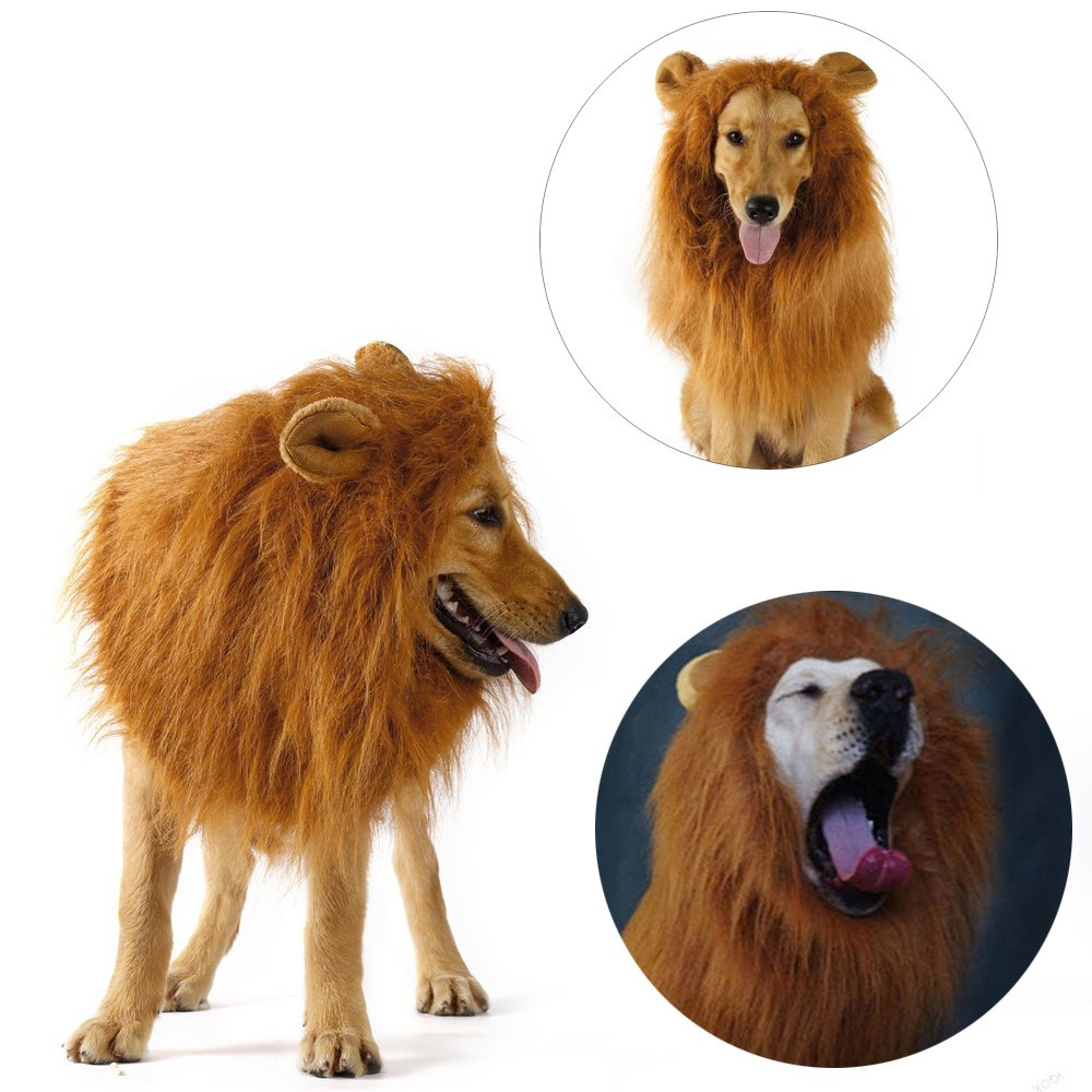 Dog Lion Mane, Pet Lion Mane Costume Lion Wig with Ears, Button Adjustable Dog Wig for Medium Large Dog Costumes by CooZero by CooZero