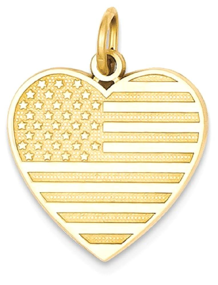 ICE CARATS 14k Yellow Gold Flag Heart Pendant Charm Necklace Travel Transportation Patriotic Fine Jewelry Gift Set For Women Heart