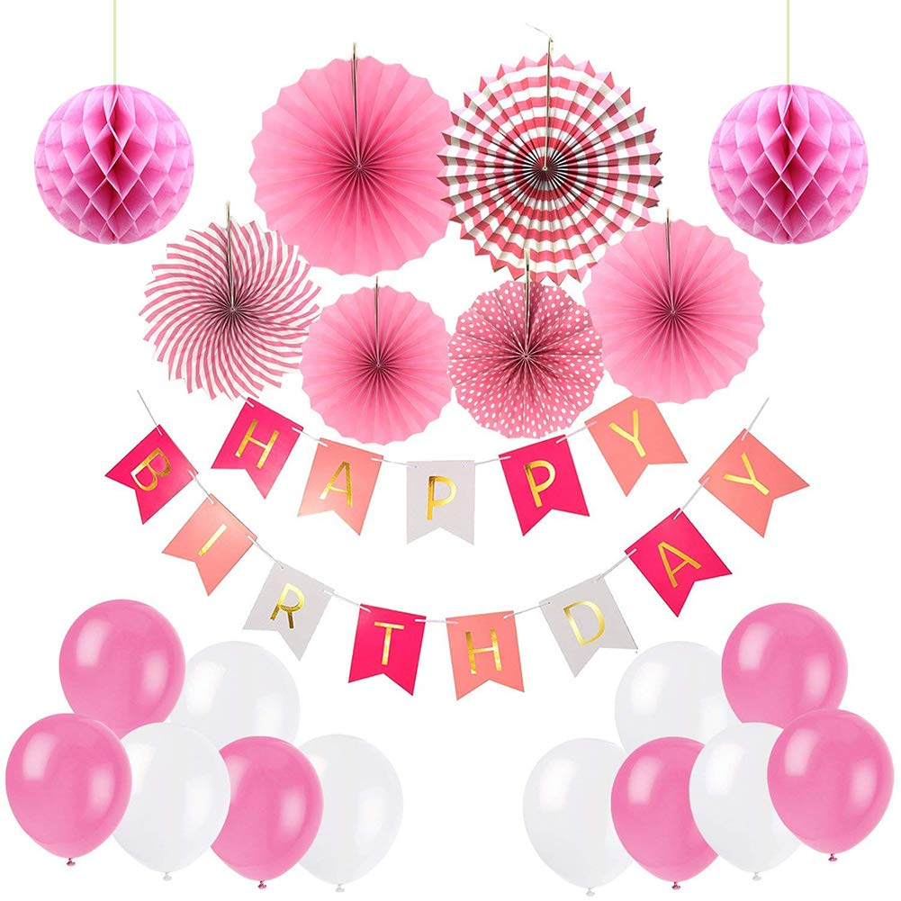 Ciaoed Happy Birthday Decorations Supplies Set Bunting Banner With Pearl BalloonsHoneycomb BallsFolding Fan For Girl S Party And Baby 1st