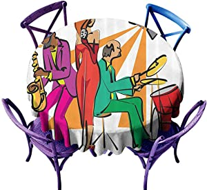 Wendell Joshua Jazz Music Decor Banquet Round Tablecloth,Jazz Band Playing On The Stage with A Stylish Singer and Illustration of Neon Lights Print Multi, Great for Bar & More D36 inch