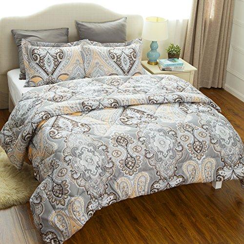 King Comforter Set Duvet Insert With Corner Ties Classics Grey Paisley Design Down Alternative