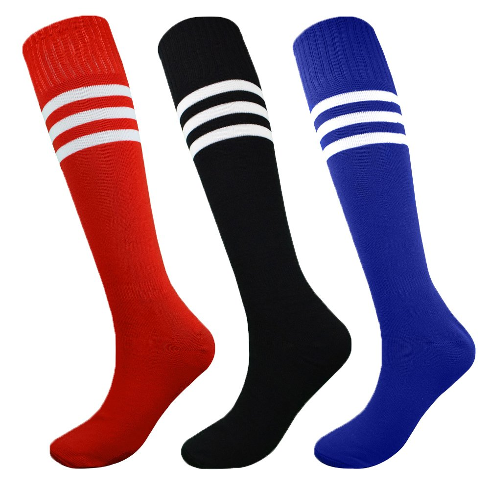 Fitliva Tube Dress Multi Color Assorted Multicolor Socks for Boys Girls Birthday Sports Gift with Stripe(3pairs-Black Blue Red) by Fitliva