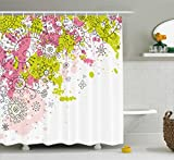 Hot Pink and Lime Green Shower Curtain Ambesonne Indian Shower Curtain by, Hand Drawn Sketchy Abstract Pastel Watercolor Image Print, Fabric Bathroom Decor Set with Hooks, 70 Inches, Lime Green Light Pink and Hot Pink