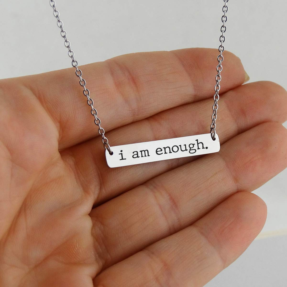 FashionJunkie4Life I am Enough Engraved Stainless Steel Horizontal Bar Necklace 18 Chain