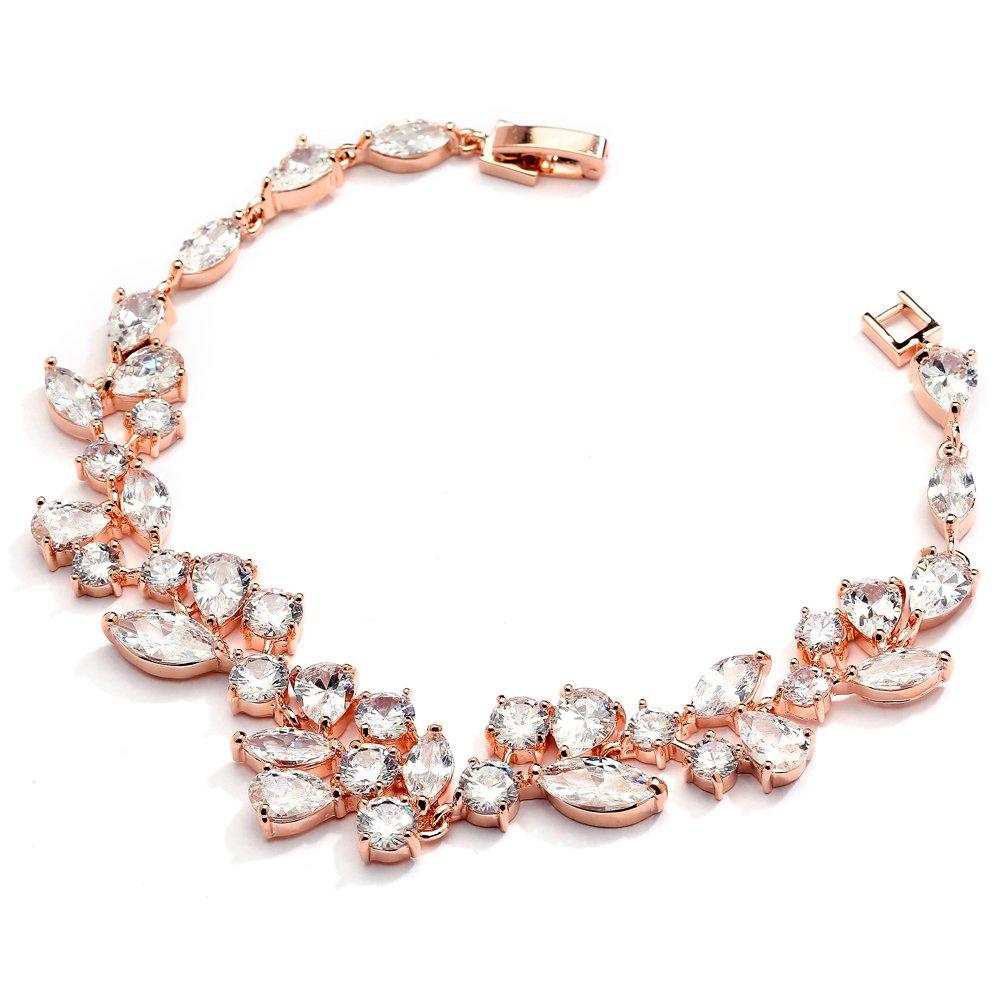 Mariell Breathtaking Blush Tone 14KT Rose Gold Plated Cubic Zirconia Wedding Bridal Bracelet
