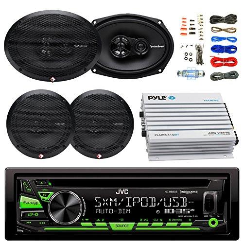 (EnrockAudioBundle JVC KDR680S Car Radio USB AUX CD Player Receiver - Bundle Combo With 2x Rockford Fosgate 6.5
