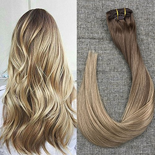 Full Shine 16 inch 100gram 10 Pcs Balayage Hair Extensions H