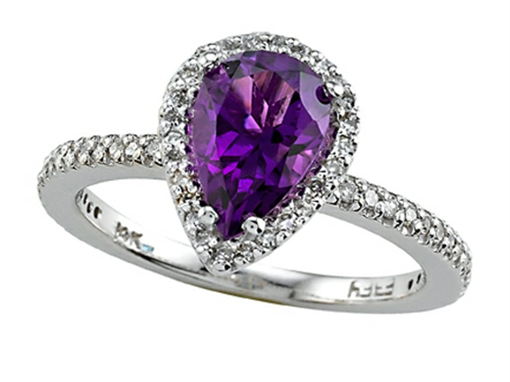 Genuine Amethyst Ring by Effy Collection 14 kt White Gold Size 6.5