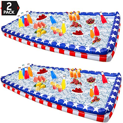 Outdoor Inflatable Buffet Cooler Server - Patriotic Red White and Blue Blow Up Cooling Tub for Serving Buffet Style Picnic - Pack of 2 ()