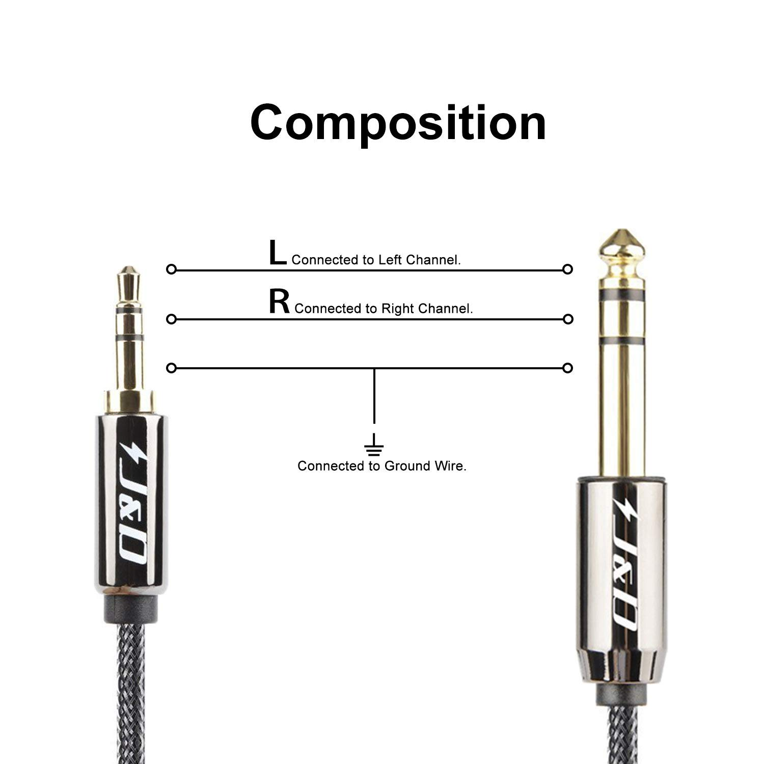 6 Feet // 1.8 Meter J/&D 3.5 mm to 6.35 mm Cable Gold-Plated 3.5mm 1//8 Male TRS to 6.35mm 1//4 Male TRS Stereo Audio Cable with Zinc Alloy Housing and Nylon Braid Heavy Duty Copper Shell