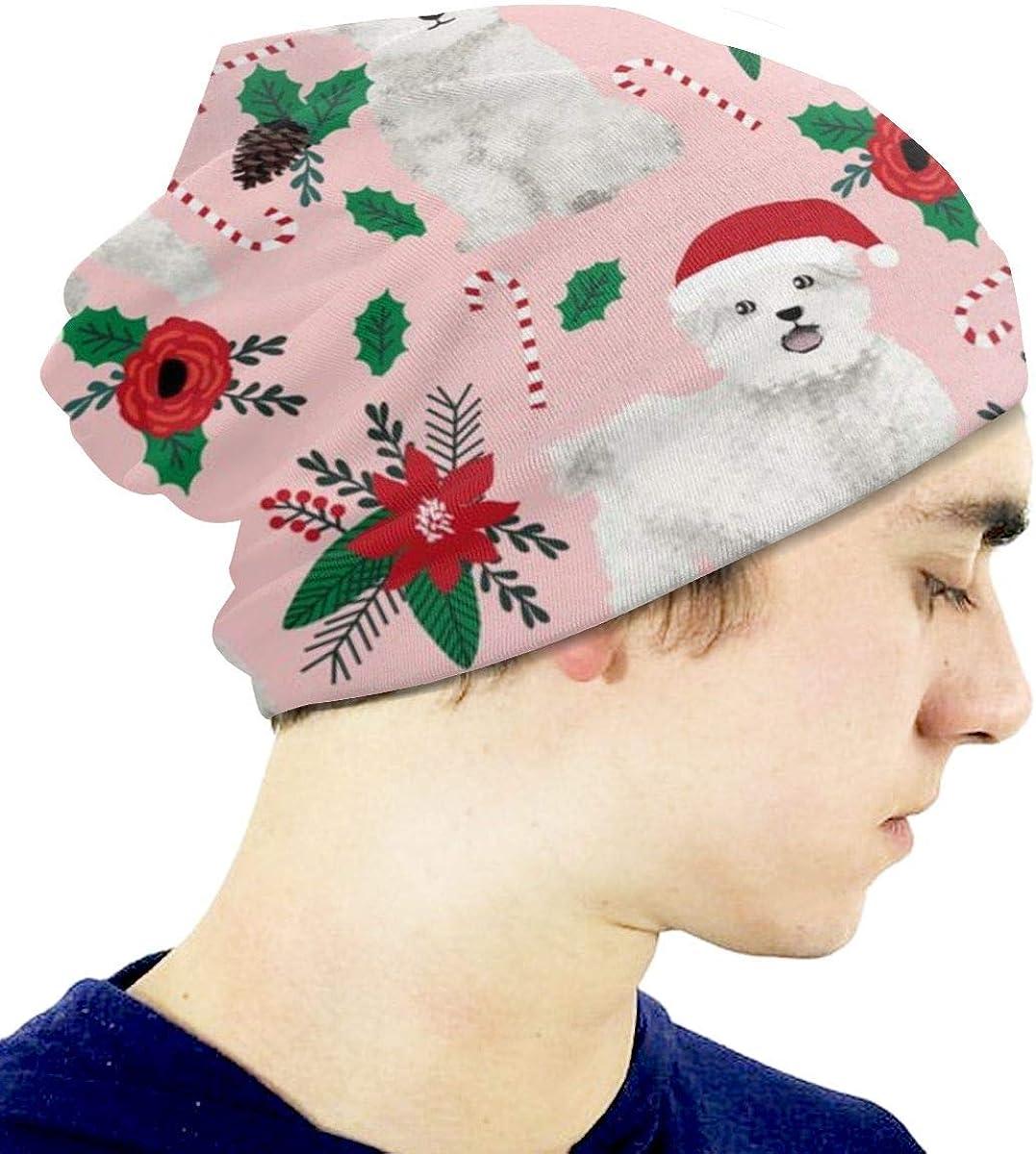 Maltese Poinsettia Pink MEROU Kids Winter Knit Warm Hats Children Baby Beanie Skull Cap for Girls Boys
