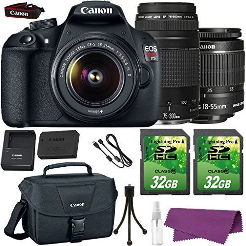 Canon EOS Rebel T5 DSLR Camera with Canon EF-S 18-55mm IS Lens + Canon EF 75-300mm III Lens + 2 Pieces 32GB SD Memory Card + Canon Bag + Cleaning Kit