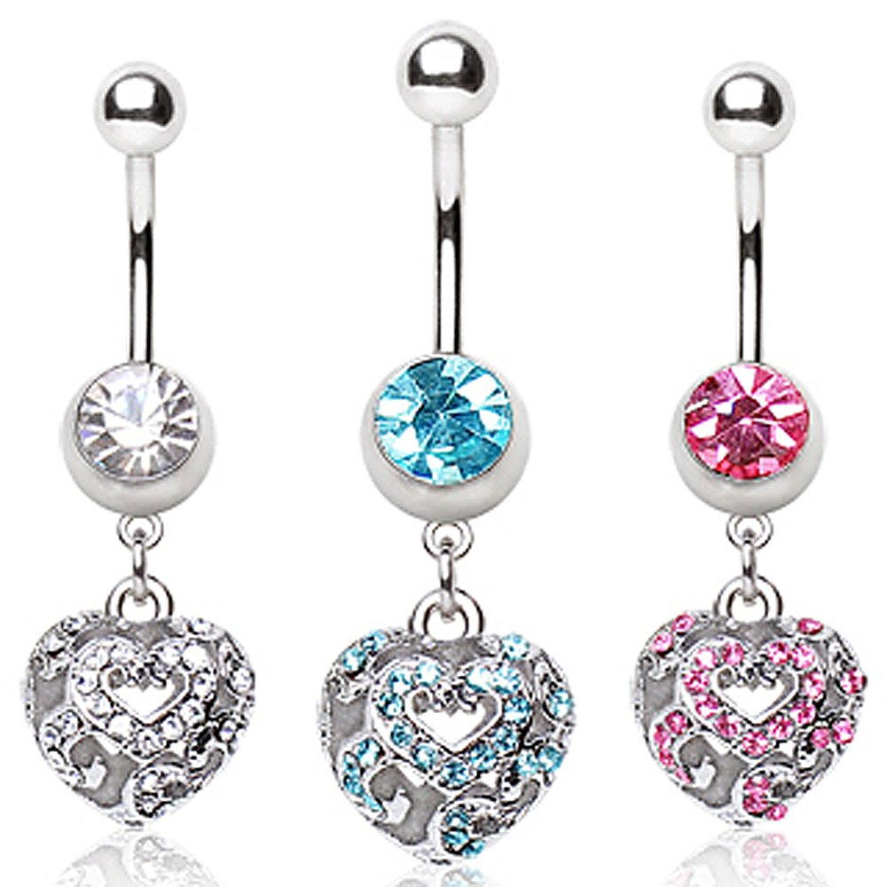 Sold Individually 14GA L:3//8 316L Surgical Steel Navel Ring with Vacant Heart Dangle