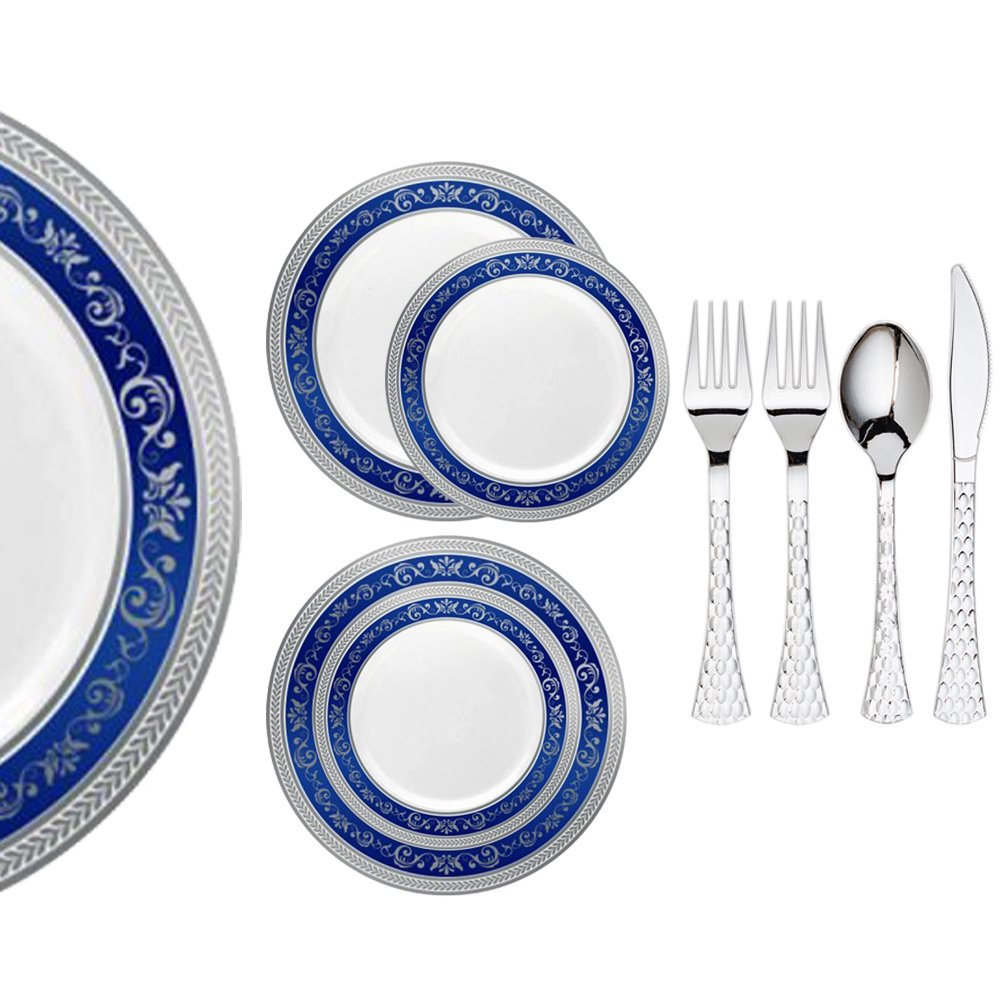 Royalty Settings Royal Collection Hard Plastic Plates for Weddings for 120 Persons, Includes 120 Dinner Plates, 120 Salad Plates, 240 Forks, 120 Spoons, 120 Knives, Blue with Silver Rim
