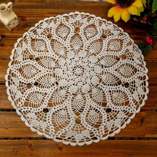 kilofly Handmade Crochet Cotton Lace Table Sofa Doily, Waterlily, White, 20 inch