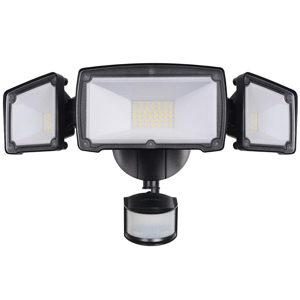 LEPOWER 3500LM LED Security Light, 39W Super Bright Outdoor Motion Sensor Light, 6000K, IP65 Waterproof, 3 Adjustable Heads & ETL Certified Motion Activated Flood Light for Entryways, Yard