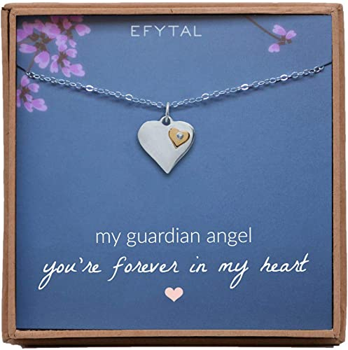 GUARDIAN ANGEL MODERN SILVER TONE PENDANT AND CHAIN