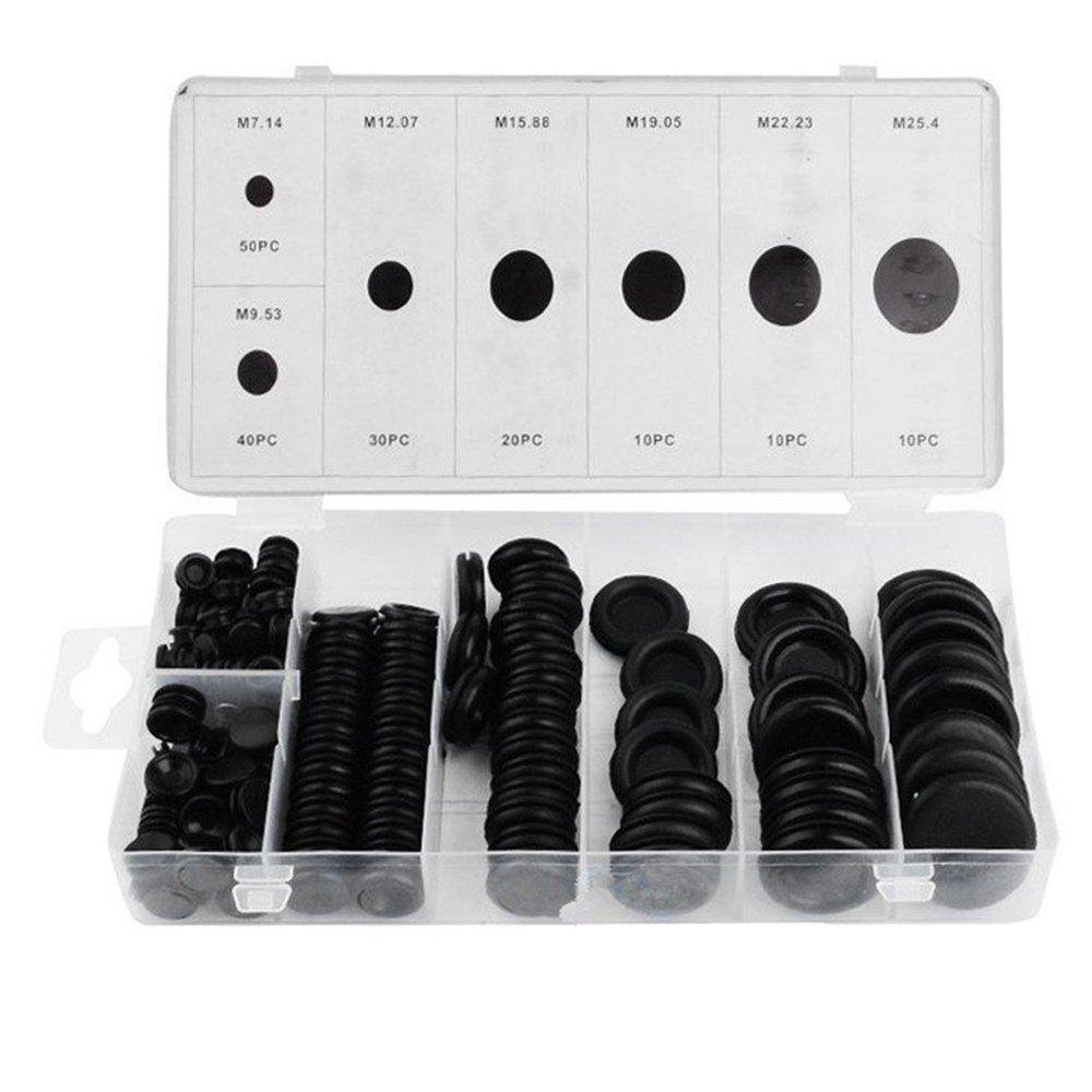 KKmoon 170pcs Rubber Grommet Firewall trou Plug Lot de 7tailles Fil électrique kit de réparation Outil de matériel pour auto machine Pompe à eau Tuyau