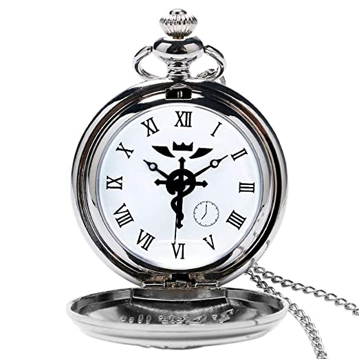 Fullmetal Alchemist Steampunk Reloj de Bolsillo, alquimista de Metal, Reloj de Bolsillo Estilo Serpiente para Hombres, Collar Reloj de Bolsillo Regalo: ...