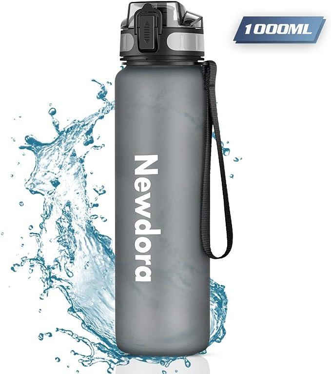 Newdora Botella de Agua Deportiva, 1000ml, Plástico de Poliéster, Sin BPA, a Prueba de Fugas, Botella Agua Bicicleta, Botella con Filtro, para Viaje, Gimnasio, Correr: Amazon.es: Deportes y aire libre