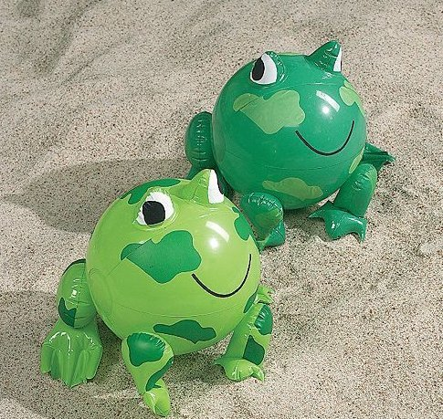 Inflatable Frog Shaped Beach Balls (12 pc) by Fun - Ball Frog Beach
