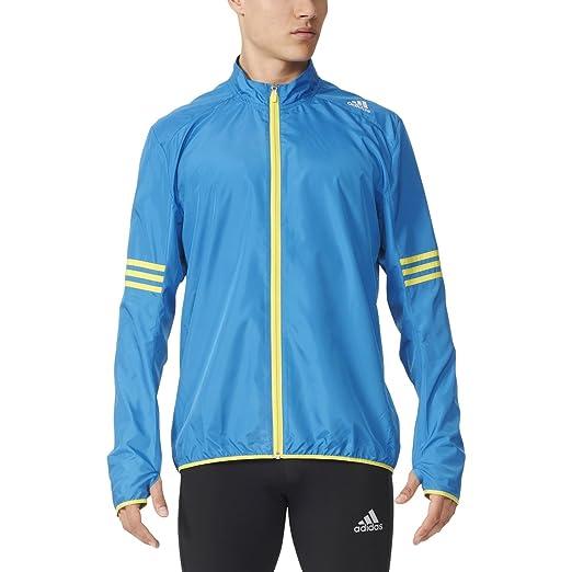 ba7591ce2 adidas Men's Running Response Wind Jacket, Unity Blue/Shock Slime, Medium