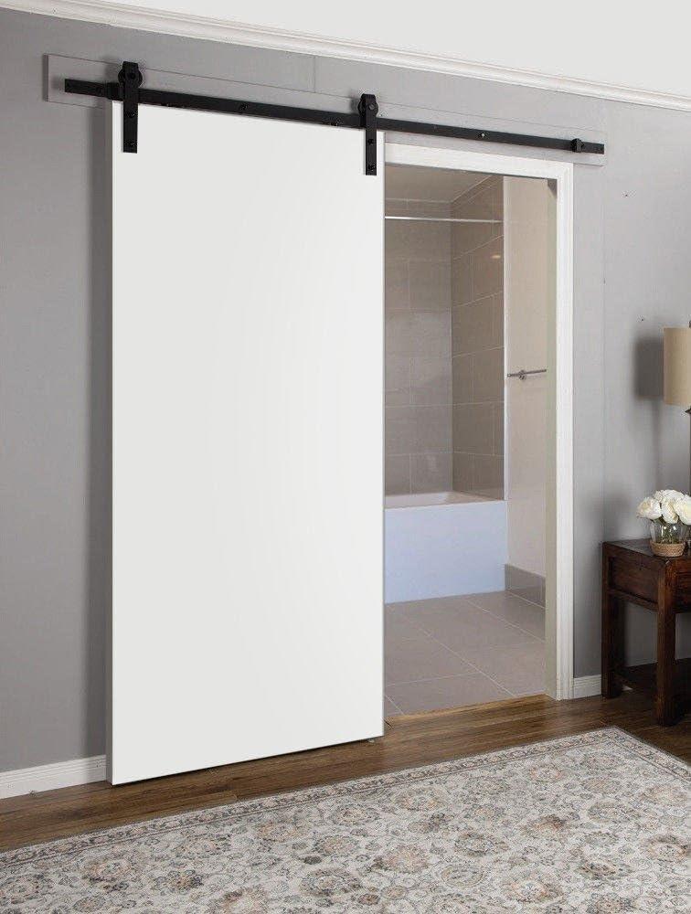 Puerta corredera blanca de granero | Planum 0010 blanco seda | 6.6 pies ganchos de riel detiene hardware Set | moderno panel sólido puerta interior: Amazon.es: Bricolaje y herramientas
