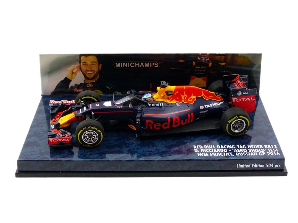 Minichamps Red Bull - Tag Heuer RB 12 Aero Shield Test Russian GP 2016, 417160203 Miniature Vehicle, Scale 1/43 Scale Blue/Red/Yellow