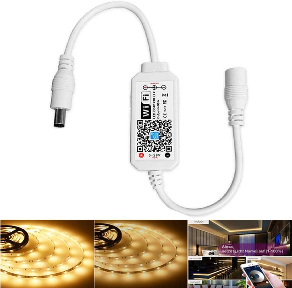 Controlador de tira de Led blanco cálido inalámbrico regulable, trabajo controlado por Wifi / aplicación con Alexa, controlador de atenuación para Android / IOS System