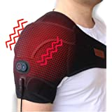 CREATRILL Massaging Heated Shoulder Wrap Brace, Heating Pad Support Brace for Rotator Cuff, Joint Capsule & Biceps Tendon Injury, Frozen Shoulder, Shoulder Dislocation or Muscles Pain