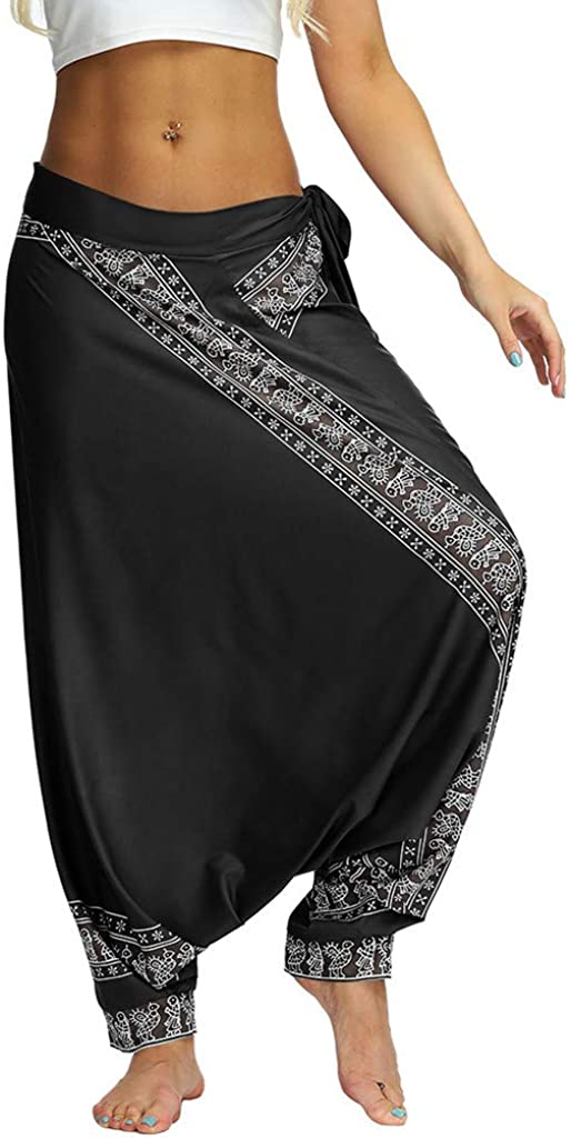 Mlide Pants Women Casual Loose Yoga Trousers Baggy Boho Aladdin Jumpsuit Pants Harem Pants