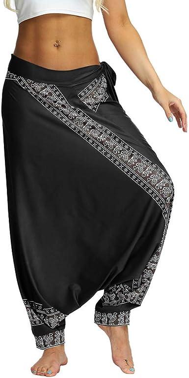 Amazon.com: HYSGM Women Casual Loose Yoga Trousers Hippie ...