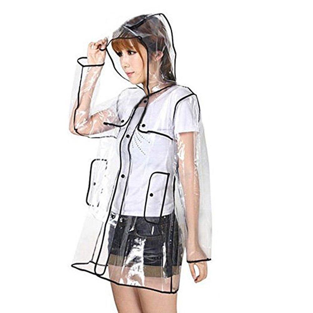 Zicac Womens Girls' Transparent Raincoat Waterproof Rain Jacket with Hood (One Size, Black)