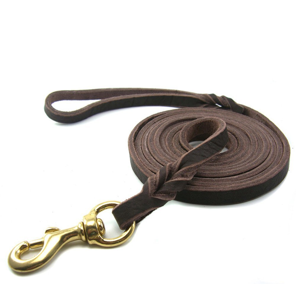 Jpettie Extra Long 8ft Lead-Heavy Duty Training Lead,Finest Grade Genuine Real Leather Multipurpose Dog Leash for Large Dog or Medium Dog with Brass Hook (8.5-feet x 0.47'', Dark Brown)