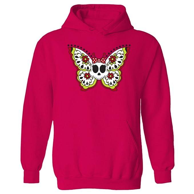 Para mujer diseño de calavera de mariposas y flores de esqueleto con diseño de estampado de sudadera con capucha para tatuajes con: Amazon.es: Ropa y ...