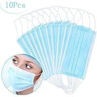 Máscaras desechables, máscara sellada con bucle elástico para los oídos, 3 capas transpirables, cómoda máscara sanitaria para uso al aire libre, oficina en el hogar-10 Pcs