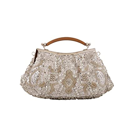 fee6b6e49b iShine Women Bag Beads Sequins Evening Wedding Party Tote Bags Handmade  Beaded Shoulder Bags Top-