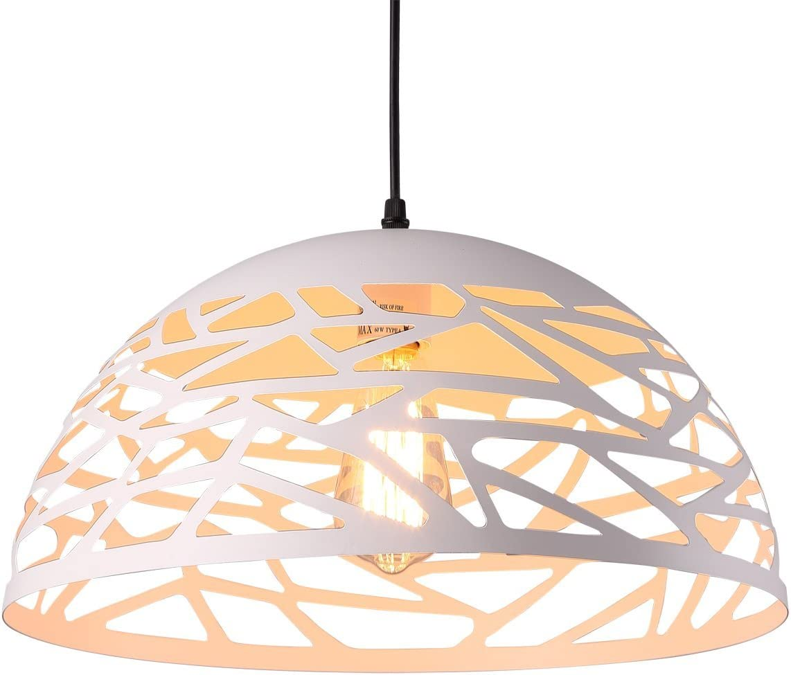 HOMIFORCE UL Listed Modern Style 1-Light Contemporary Hollow Pendant Light with Metal Shade in White Finish-Modern Industrial Edison Style Hanging CL2017050 Leo White