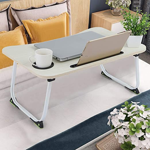 Black Watching Movie on Bed//Couch//Sofa Laptop Desk Portable Bed Tray Table Notebook Stand Reading Holder Dorm Lap Desk with Foldable Legs /& Cup Slot for Eating Breakfast Reading Book
