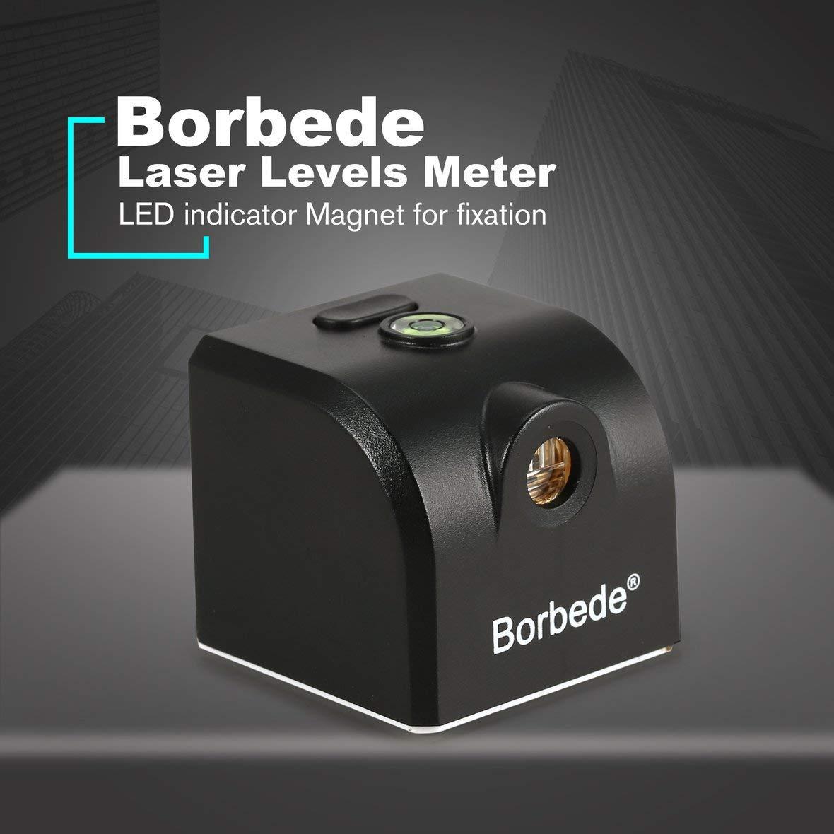 Noir Migvela Borbede Portable Mini Croix Laser Rouge Niveaux Compteur 2 ligne 1 point 650nm Instrument de nivellement avec indicateur LED Fixation magn/étique