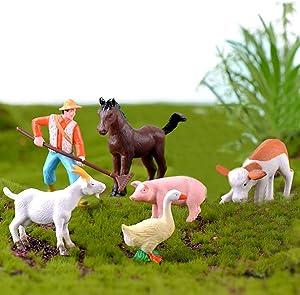 DIY Miniature Garden Decorations,Horse Pig Piggy Duck Goat Cattle Miniature Fairy Garden Accessories Fairy Garden Kit for Terrarium,Home Desktop,Dollhouse,Succulents Decoration-6pcs Farmer Animals